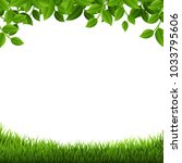 green  branches  and  grass... | Shutterstock .eps vector #1033795606