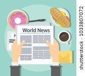 reading the world newspaper on... | Shutterstock .eps vector #1033807072