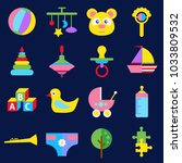 flat colorful cute toy icons... | Shutterstock .eps vector #1033809532