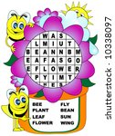 Children's word search. Bees and flower theme. - stock vector