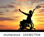 silhouette of disabled person... | Shutterstock . vector #1033817536