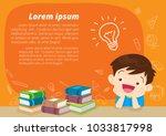 children boy thinking idea and... | Shutterstock .eps vector #1033817998