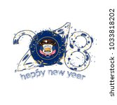 2018 happy new year utah us... | Shutterstock . vector #1033818202