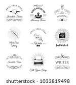 writer vintage labeles and... | Shutterstock .eps vector #1033819498