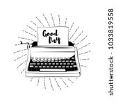 typewriter   dood day card.... | Shutterstock .eps vector #1033819558