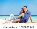 in love couple on the sea beach ... | Shutterstock . vector #1033822948