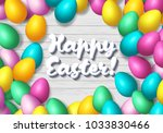 easter frame with shiny... | Shutterstock .eps vector #1033830466