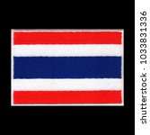 Small photo of Thai flag ensign emblem, embroidery patch on isolated black background with saved clipping path.