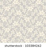 Stock vector beautiful seamless floral background with flowers and leaves 103384262
