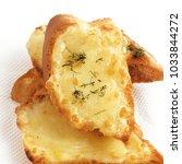 veg cheese garlic bread. | Shutterstock . vector #1033844272
