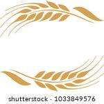 two gold ripe wheat ears.   | Shutterstock .eps vector #1033849576