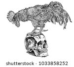 rooster on the skull. symbolic... | Shutterstock .eps vector #1033858252