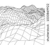 wireframe terrain vector... | Shutterstock .eps vector #1033869922