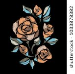 embroidery rose pattern. craft. ... | Shutterstock .eps vector #1033878382