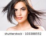 closeup portrait of a brunette... | Shutterstock . vector #103388552