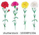 vector set with outline red ... | Shutterstock .eps vector #1033891336