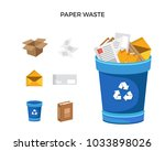 modern blue recycle paper waste ... | Shutterstock .eps vector #1033898026