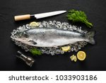 salmon fish and ingredients on... | Shutterstock . vector #1033903186