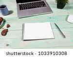 blue office desk table with... | Shutterstock . vector #1033910308