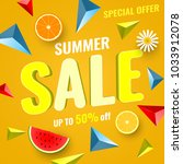 colorful summer sale banner... | Shutterstock .eps vector #1033912078
