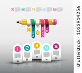 pencil with paper labels.... | Shutterstock .eps vector #1033914256