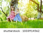 two little sisters sitting on a ... | Shutterstock . vector #1033914562