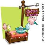 cartoon cotton candy vendor... | Shutterstock .eps vector #1033917055