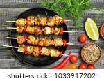 appetizer chicken kebab with... | Shutterstock . vector #1033917202