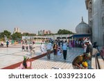 Small photo of Delhi, India. Oct 12, 20009. Sikh Temple Gurdwara Bangla Sahib in Delhi. In the main concourse, tourists and faithful intermingle, forming a curious image.