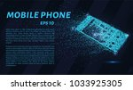 phone from the particles. the... | Shutterstock .eps vector #1033925305
