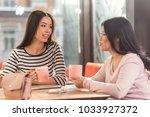 visit to a cafe. joyful...   Shutterstock . vector #1033927372