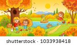 boys and girls on a picnic.... | Shutterstock .eps vector #1033938418