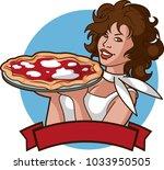 beautiful pizza girl | Shutterstock .eps vector #1033950505