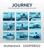 flat travel illustration with... | Shutterstock .eps vector #1033958422