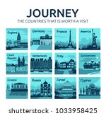 set of travel icons with... | Shutterstock .eps vector #1033958425