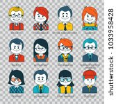 set of people icons in flat... | Shutterstock .eps vector #1033958428