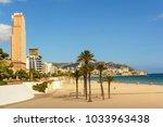benidorm beach  mediterranean... | Shutterstock . vector #1033963438
