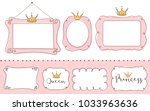 Stock vector set of cute doodle mirrors princess vector element of design pink frames with crown tiara 1033963636