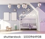 blank poster mockup in children ... | Shutterstock . vector #1033964938
