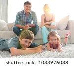 portrait of happy family...   Shutterstock . vector #1033976038