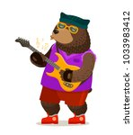 bear playing electric guitar.... | Shutterstock .eps vector #1033983412