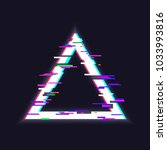 glitched triangle frame. glitch ... | Shutterstock .eps vector #1033993816