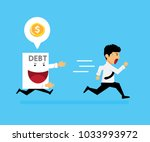 the guy ran away from paper... | Shutterstock .eps vector #1033993972