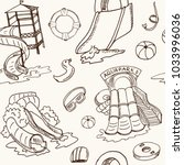 aquapark hand drawn doodle... | Shutterstock .eps vector #1033996036