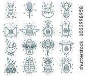 set of easter line icons ... | Shutterstock .eps vector #1033998958