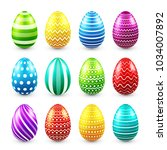 easter eggs colored set. spring.... | Shutterstock .eps vector #1034007892