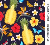 seamless pattern with pineapple ... | Shutterstock .eps vector #1034010916