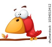 cute  funny  crazy bird... | Shutterstock .eps vector #1034013412