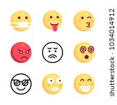 icons emoji. vector sad  angry... | Shutterstock .eps vector #1034014912