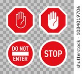 stop road sign with hand... | Shutterstock .eps vector #1034019706